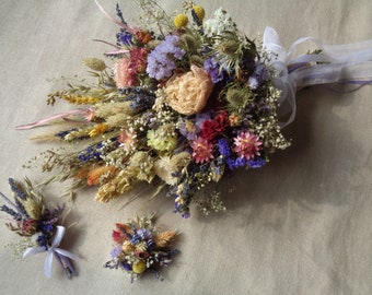 Summer sunset wedding bridal bouquet with boutonniere and hair pin dried country garden wedding bridal bouquet summer dry wedding bouquet
