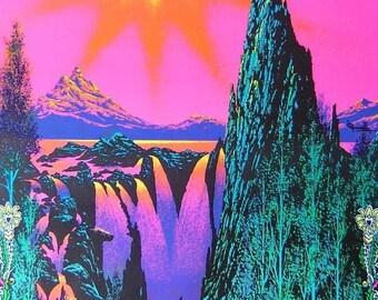 BIG Vintage 1970 Psychedelic~GARDEN Of EDEN~Blacklight Poster