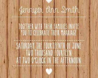 Rustic Wood Printable Wedding Invitation