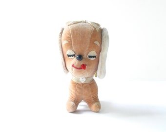 Vintage 1970's Dakin Dream Pets Puppy Love #304 Velveteen Dog Stuffed Animal - Vintage Dog Figurine - 1970s Stuffed Animals