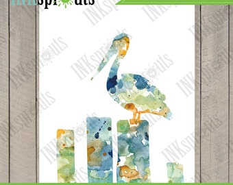 INSTANT DOWNLOAD - Watercolor Pelican Print, Watercolor silhouettes, Birds, Sea birds, Beach theme, Nursery Print, Nautical, Item  WC018A