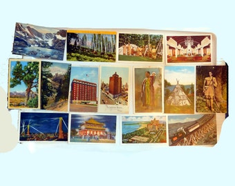 Lot of 15 Used / Unused Travel Souvenir Color Linen Postcards - U.S. Travel - Mostly 1930s - Indian Reservation, Hotels, Worlds Fair, Scenic