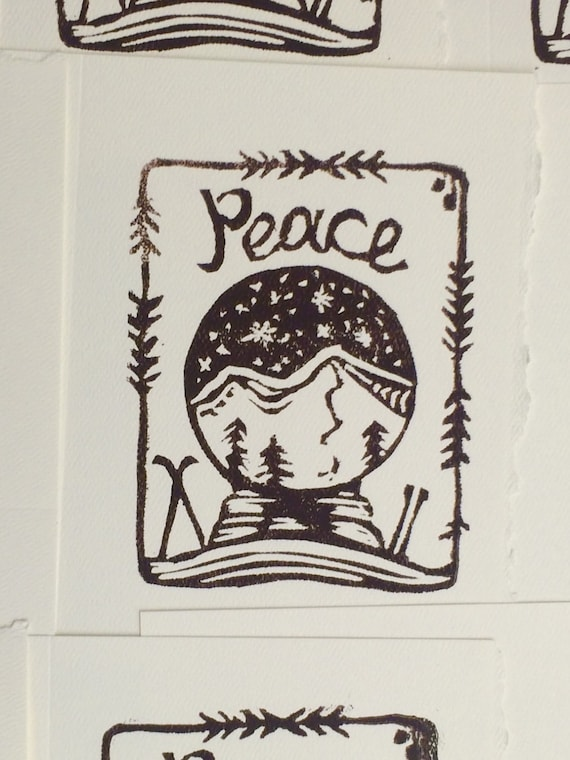 Peace snow globe holiday card