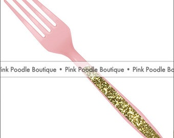 Sparkle SPOONS (12 pc) -- Pastel/Baby Pink Plastic Utensils with Gold or Silver Glitter