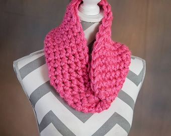 Bright Pink Super Chunky Crochet Cowl