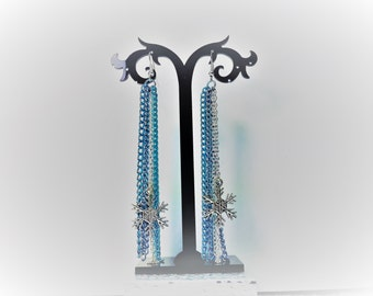 Snowflake Earrings, Blues, Purple, and Silver Chains