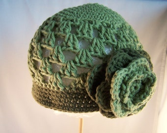 Beanie Hat Crocheted Ready to Ship 12-24 Month Tavern Green, Olive Green Classy  Warm Colors Trendy
