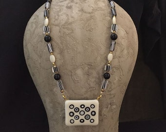 Black and White Fused Glass Necklace Set