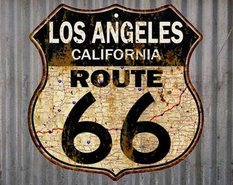 Los Angeles, California Route 66 Vintage Look Rustic 12X12 Metal Shield Sign S122094
