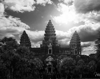 Angkor Wat print, Cambodia photography prints, black and white home decor, Buddhist wall art, Asia travel photo, temple archaeology fine art