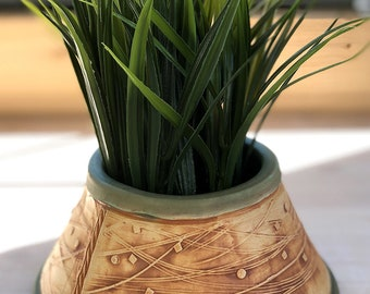 Medium Size Indoor Succulent or Cactus Planter-Stoneware with Stained Unglazed Exterior Surface with Matte Black Glaze Inside and on Foot