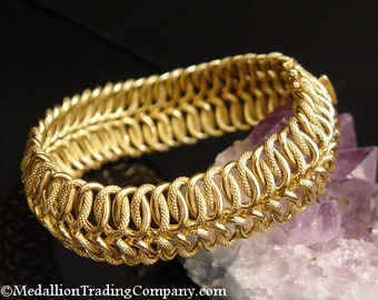 14K Yellow Gold 19mm Wide Infinity Fancy Mesh Link Bracelet 21 Grams 7.5 Inch