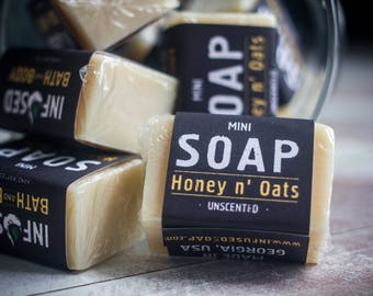 MINI Honey 'n Oats Soap bar sample, Oatmeal Soap, Sensitive skin care, Handcrafted Soap, Homemade Soap, Oatmeal milk and honey soap, sampler
