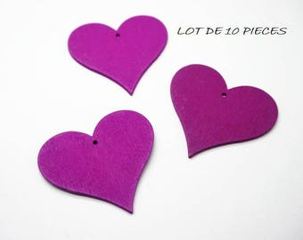 set of 15 wooden heart charms heart purple embellishment (Z08)