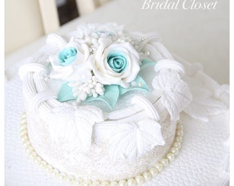 Cake Topper, Cake Topper With Roses, Flower Cake Topper, Keepsake Topper, Wedding Cake Topper, Wedding Decoration, Turquoise Cake Topper