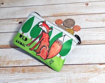 Fox Coin Purse Wild Animal Change Pouch Mr Fox Fun Illustration