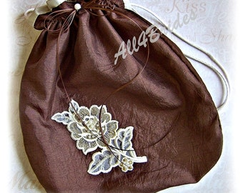 Drawstring bag, chocolate brown and ivory.  Wedding accessories bridal bag, wedding dance bag