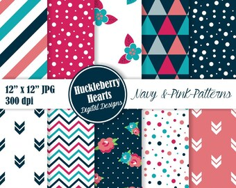 Floral Digital Paper, Triangle Patterns, Digital Confetti Paper, Navy Blue, Pink, Seamless Patterns