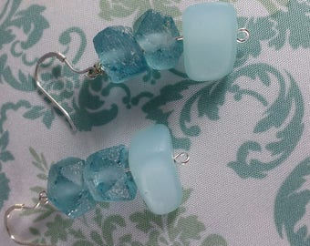 Three Beautiful Blue Sea Glass Beads With Sterling Silver Earrings
