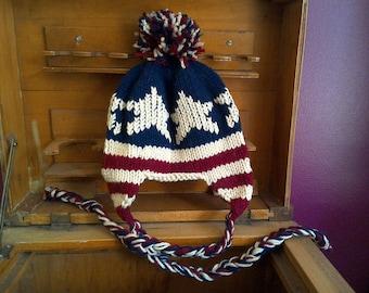 American Flag Earflap Hat - Handknit kids winter hat hand knit kid's