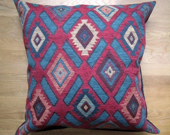Navajo Inspired Pillow Cover, 26x26 Teal and Wine Floor Pillow Cover, Large Decorative Pillow Cover