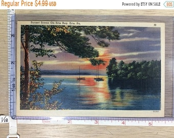 10%OFF3DAYSALE Vintage Old Post Card Sunset Scene On Erie Bay Erie Pa Word Written On Back Unused