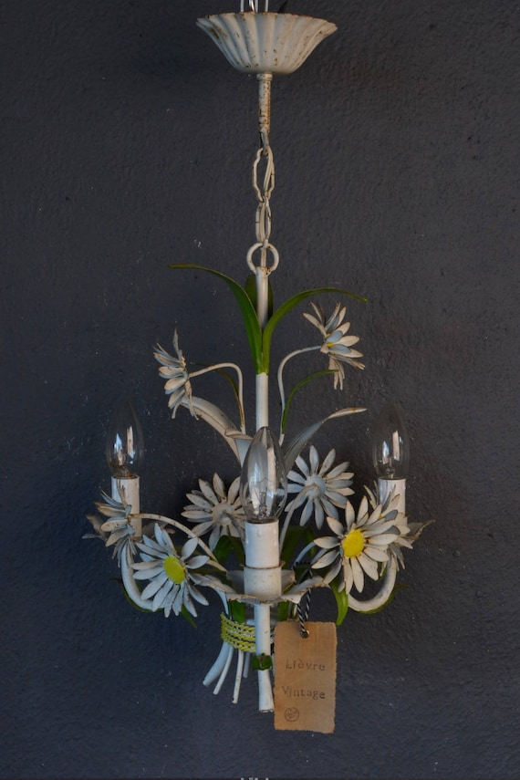 Painted toleware chandelier with daisies