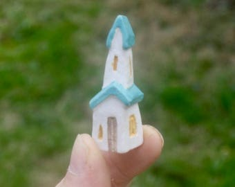 tiny leaning house/church, carved stoneware clay, OOAK