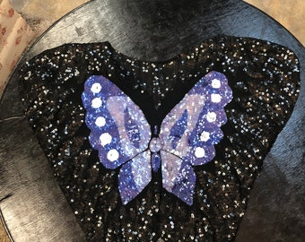 Vintage Sequins Butterfly Blouse