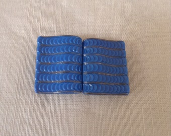 "1930's blue ""pâte de verre"" belt buckle."