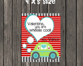 """Printable Valentines - Valentine you are Wheelie Cool! 4"""" x 5"""" Personalization included!"""