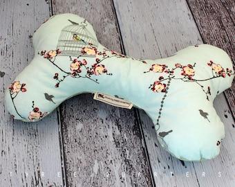Bones, dogs, toys, bird, cherry blossoms, mint green, dots, dog toys, gift, fabric bones, birds, shabby, nostalgic