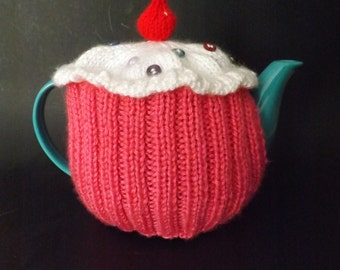 Knit Cupcake Teapot Cozy - Knit Teapot Cosy - Knitted Tea Cosy - Knit Teapot Cover
