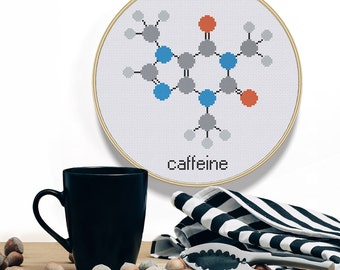 Easy Cross Stitch Pattern Caffeine Modern Cross Stitch Pattern PDF Instant Download