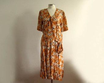1920s Silk Dress / 20s Dress / Orange Floral Silk / Novelty Print Silk Dress / SMALL