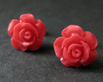 Cherry Red Flower Earrings. Bright Red Earrings. Gardenia Flower Earrings. Silver Stud Earrings. Rose Earrings. Handmade Earrings.