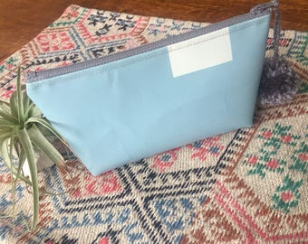 Baby Blue and White Vinyl Zipper Pouch