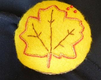 Handwoven Pincushion Maple Leaf