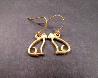 Gold CAT Earrings, On Little Cat Feet, Gold Dangle Earrings, FREE Shipping U.S.