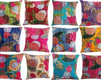 Beautiful Indian Handmade Kantha Cushion Cover ,Throw Handmade Cotton Pillow  Cases Standard 16*16