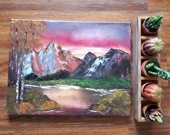 """Mountainscape at Dusk Original Oil Painting 14x18"""""""