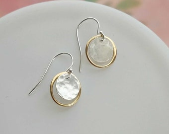Mixed Metal Dangle Earrings Hammered Silver Gold Silver Drop Earrings Everyday Jewelry