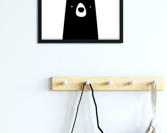 Bear Wall Art, Camping Nursery Art, Woodland Nursery, Funny Boy Printable, Black White Nursery, Large Wall Art, Square Kids Art Scandinavian