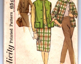 """1960's Simplicity Jacket, Skirt, and Pants Pattern - Bust 34"""" - UNCUT - 4098"""