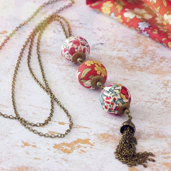 Liberty necklace,Tassel necklace,Long boho necklace,Liberty jewelry,Red necklace,Long tassel necklace,Original necklace,Original jewelry