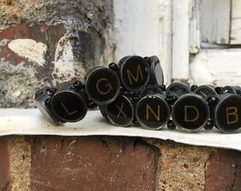 Typewriter key bracelet set