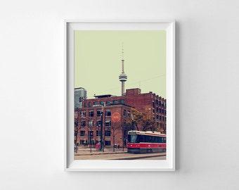Toronto Art CN Tower, Spadina Streetcar and Hotel Ocho - Canadian Retro Style Toronto Photography Fine Art Print