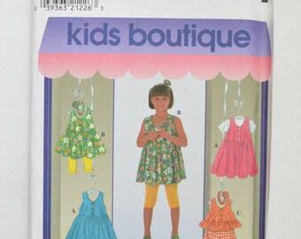 1990s UNCUT Simplicity Kids Boutique Sewing Pattern 7991 Childrens Summer Dress, Elastic Waist Shorts, Leggings, & Pullover Top Size 2,3,4