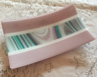 Fused Glass Platter, Mauve White Teal Art Glass Dish, Glass Serving Tray