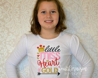 Valentine Day Shirt, girls Valentine Day, Baby Valentines Day, Sibling valentines Day, Little Miss Heart of Gold, gold glitter applique